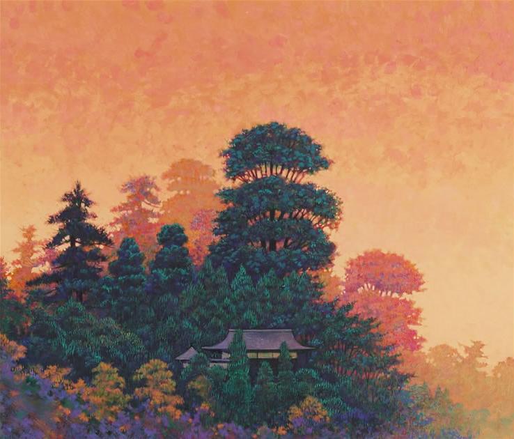 夕暮れの山堂